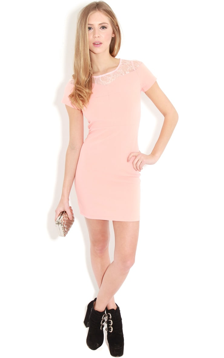 Chrisy Coral Fitted Lace Panel Dress 3