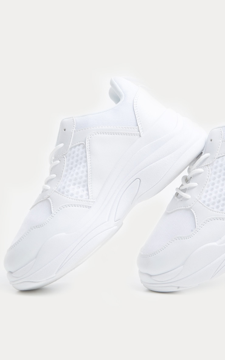 White Mesh Chunky Sole Lace Up Trainer 4