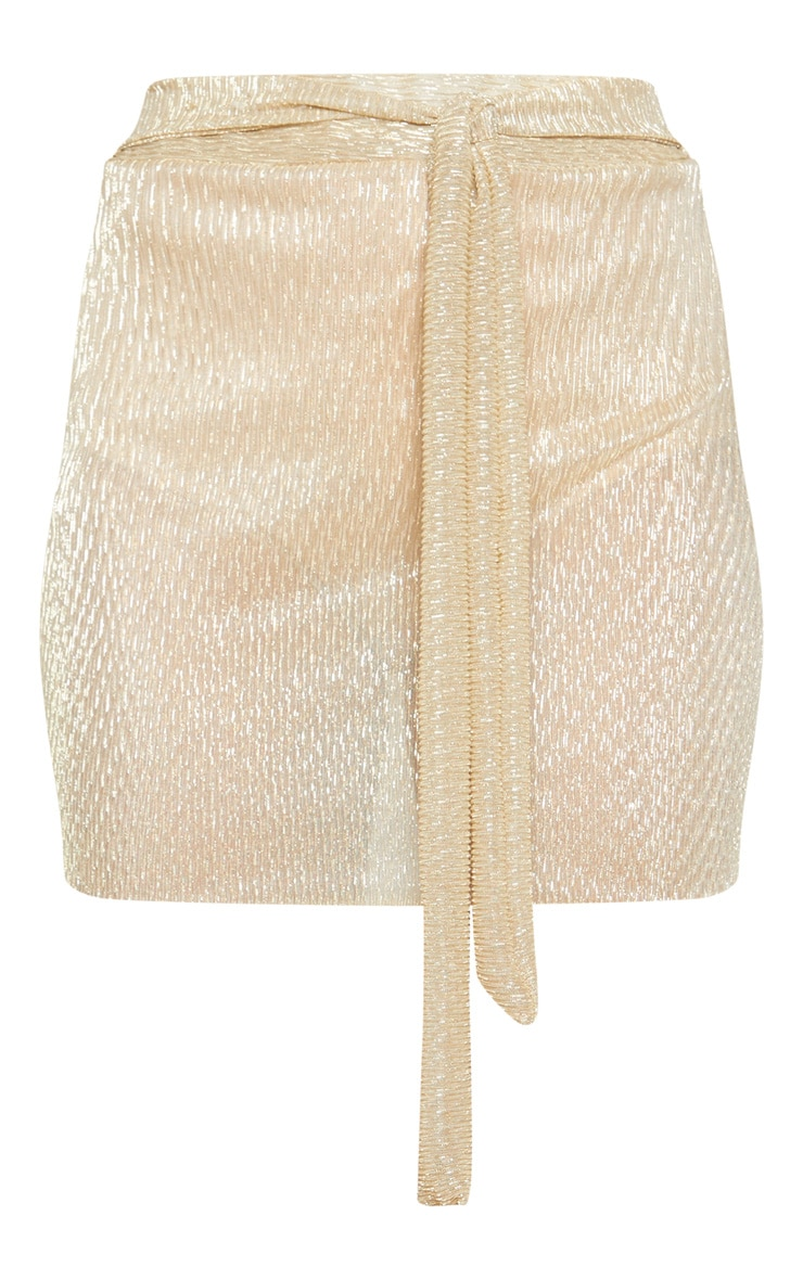 Gold Plisse Tie Waist Mini Skirt  3