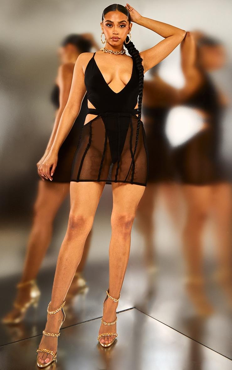 Black Plunge High Leg Bodysuit 3