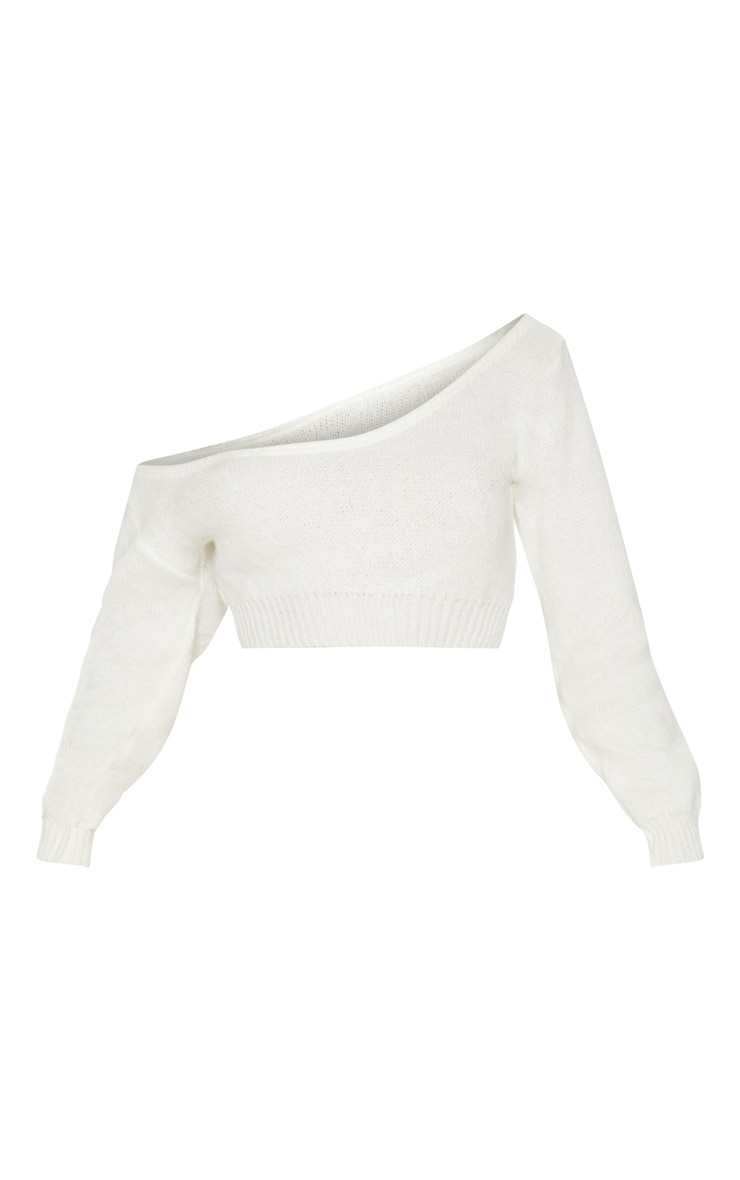 Cream V Neck Off Shoulder Knitted Cropped Sweater 3