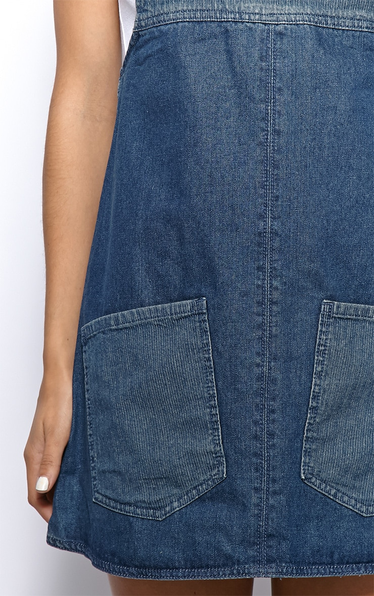 Mollie Denim Bottom Pocket Dungaree Dress 4