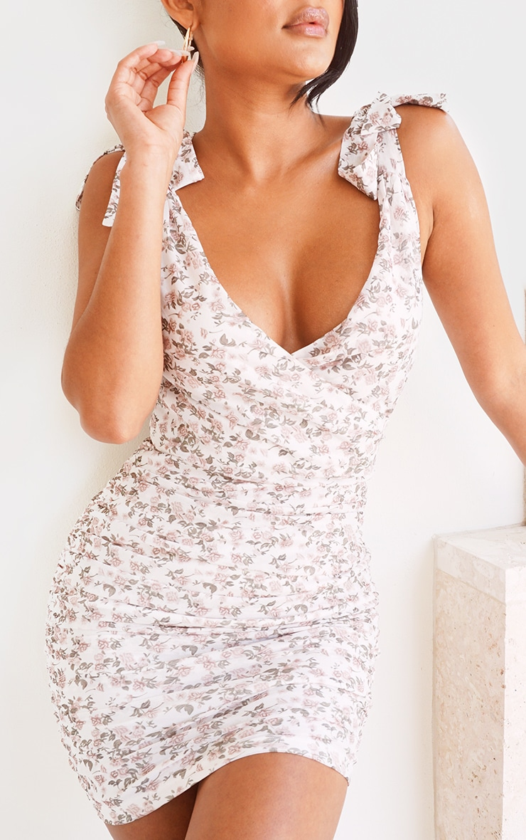 White Floral Print Mesh Ruched Tie Shoulder Bodycon Dress image 4