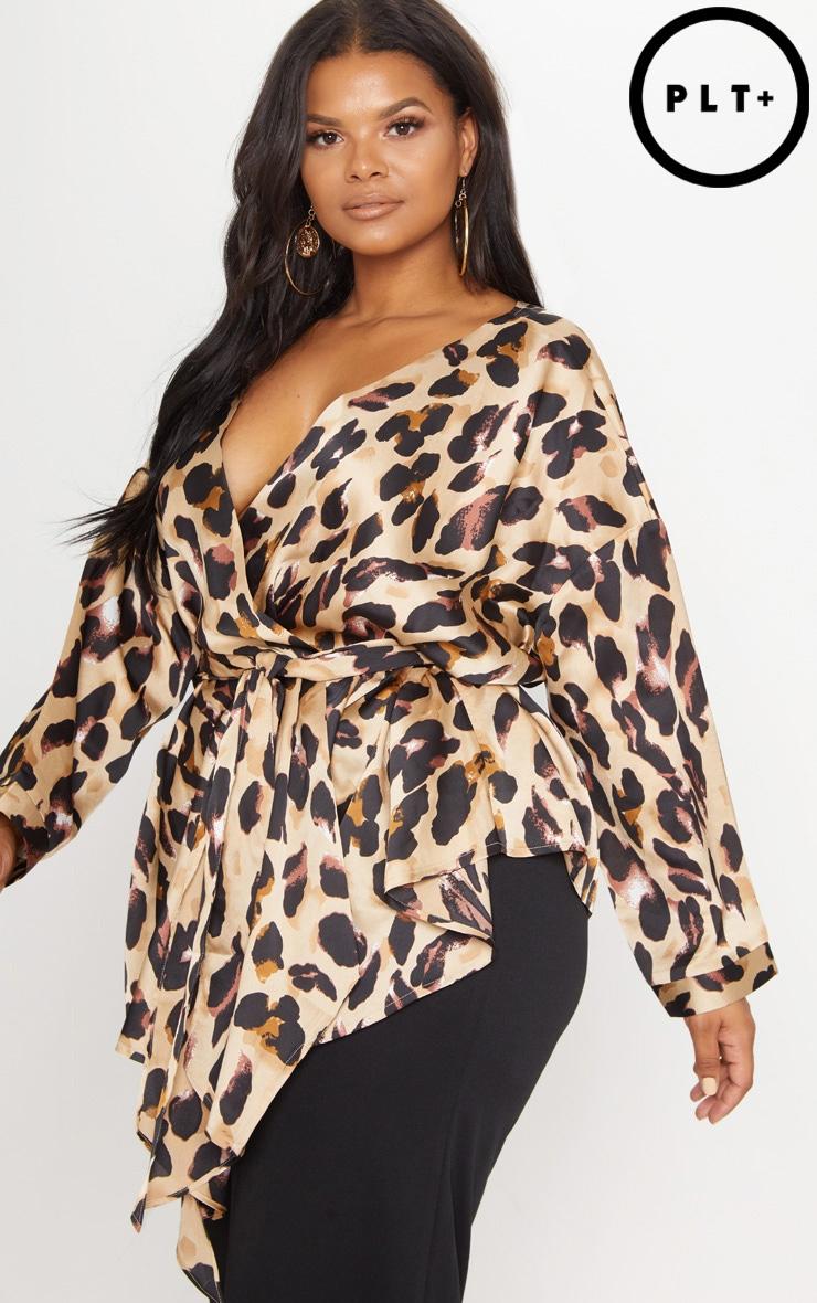 Plus Tan Leopard Print Woven Tie Waist Blouse 1