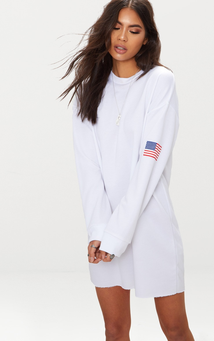 White USA Badge Jumper Dress