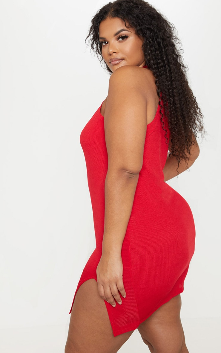 Plus Red Ribbed High Neck Split Detail Bodycon Dress  2