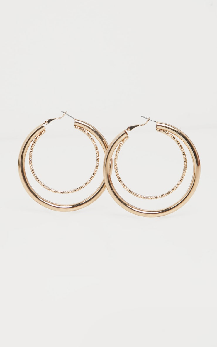 Gold Double Contrast Hoop Earring 3
