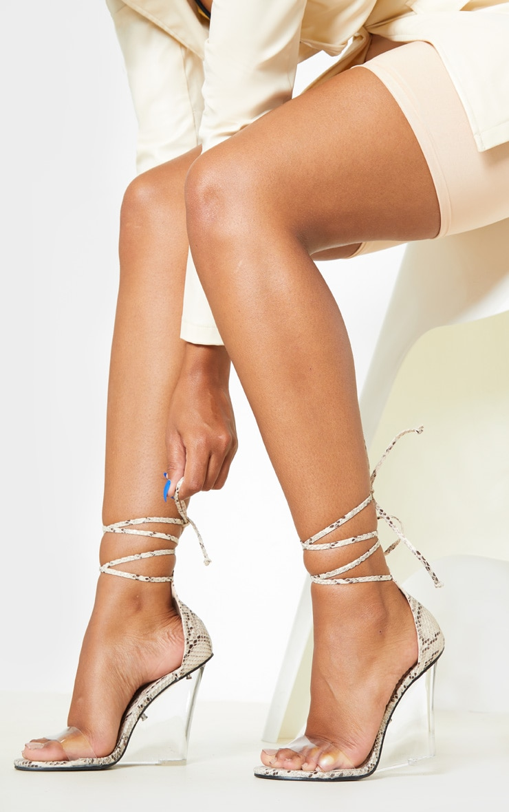 Snake Ankle Tie Clear Wedge 1