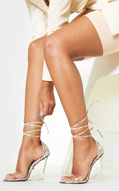 Snake Ankle Tie Clear Wedge