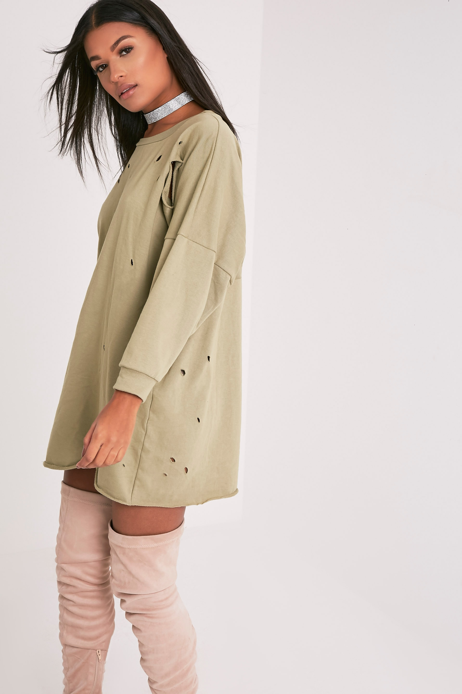 Emilia robe sweat à bords bruts aspect vieilli vert sauge 4