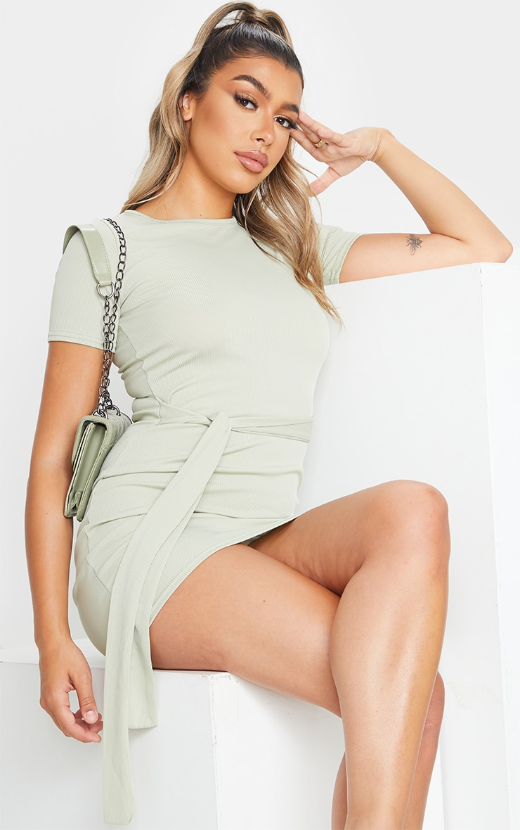Sage Green Rib T Shirt Tie Waist Dress 3