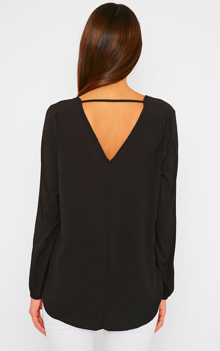 Julie Black Wrap Front V Back Top 4