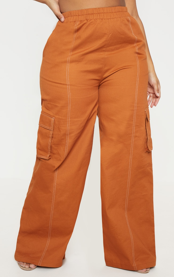 Plus Toffee Utility Pocket Wide Leg Trousers 2