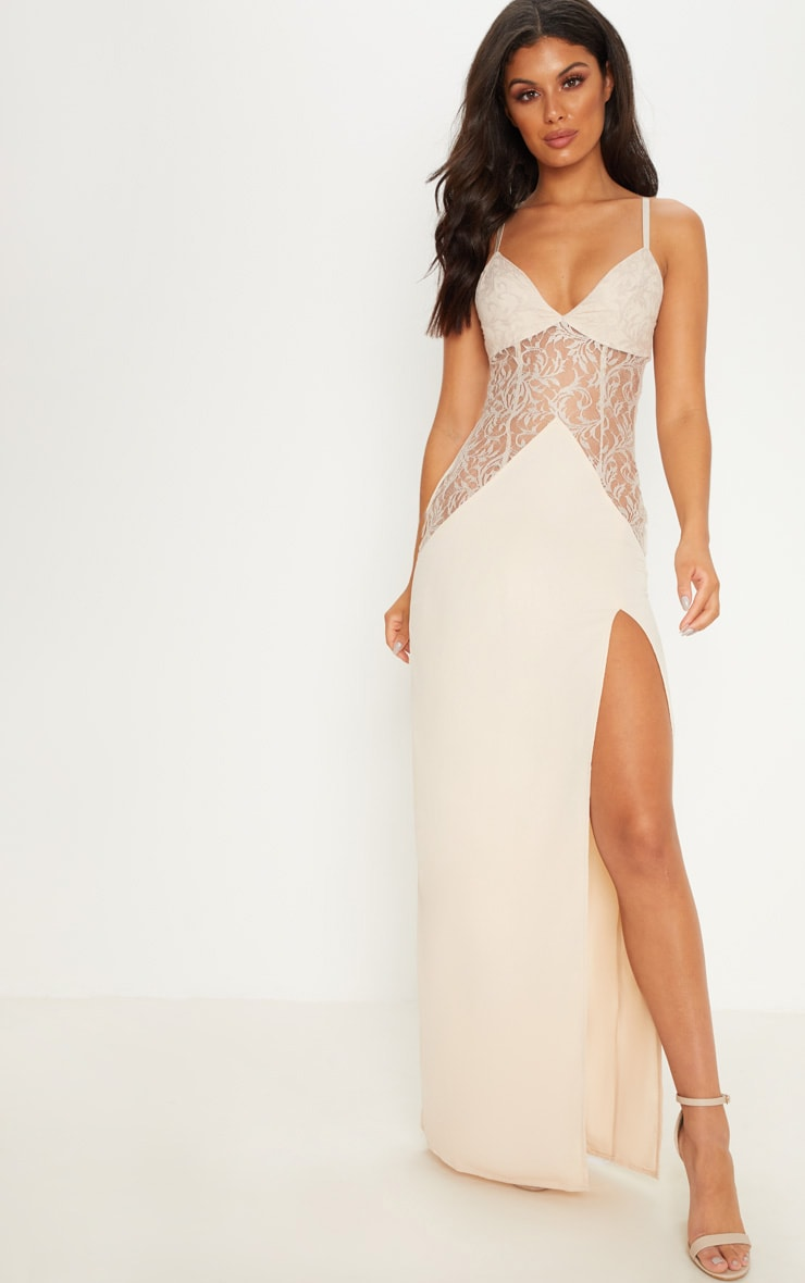 Nude Strappy Lace Insert Maxi Dress