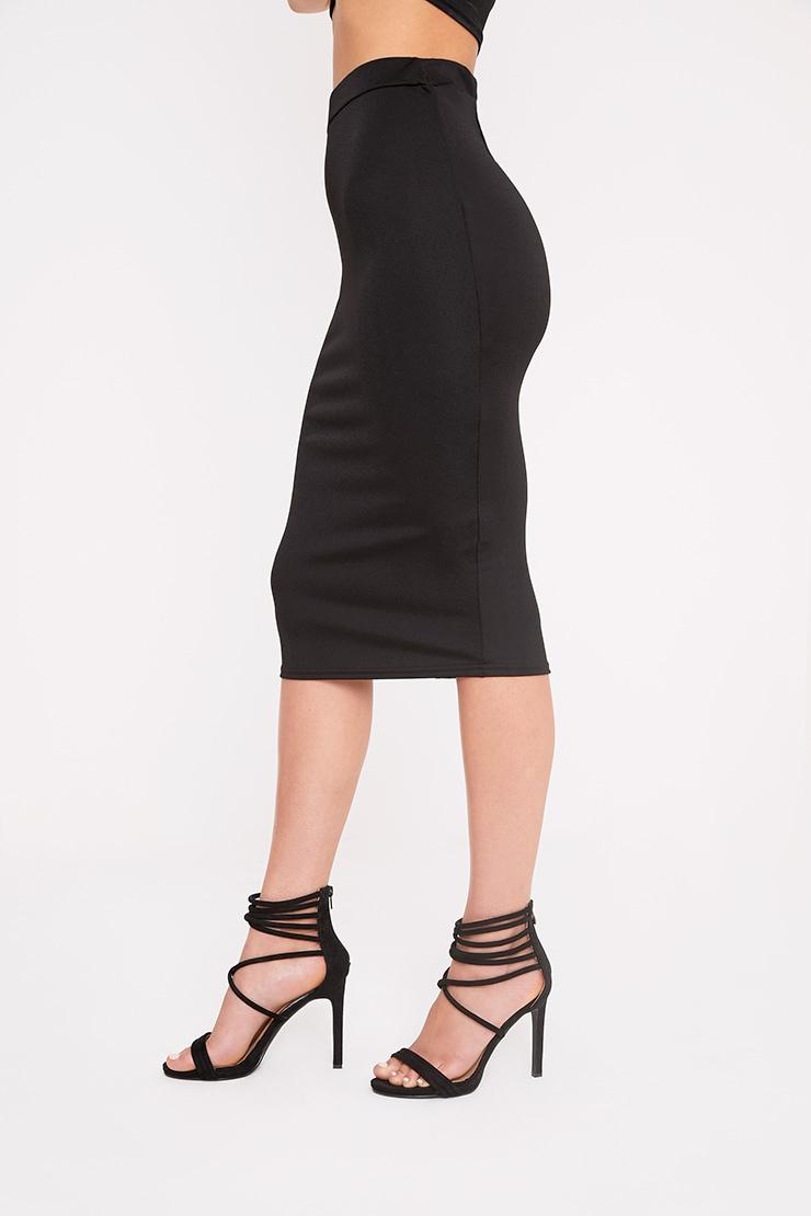 Lacy Black Crepe Midi Skirt 4