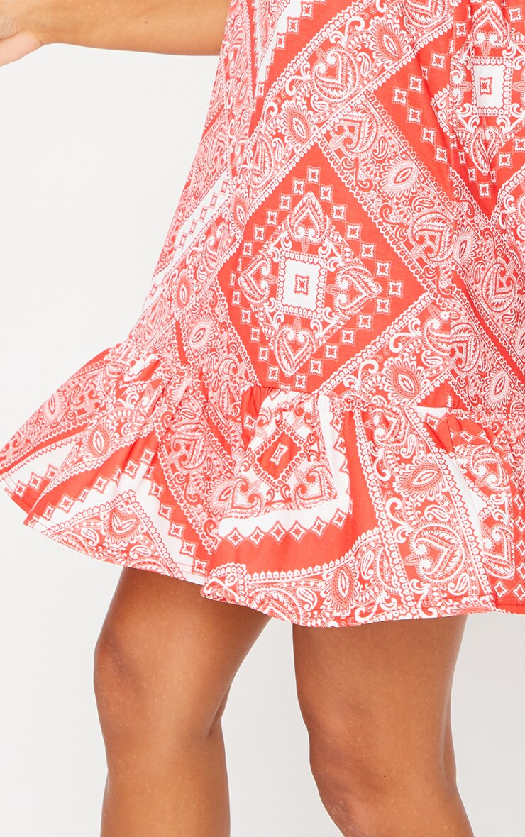 Red Scarf Print Flip Hem Dress 4
