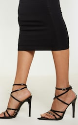 Black Patent Strappy Point Toe Heels 2