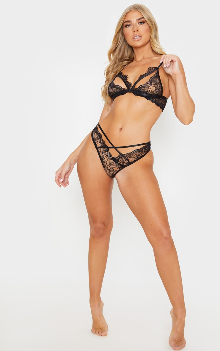 Black Floral Lace Cut Out Bra And Knicker Set 4