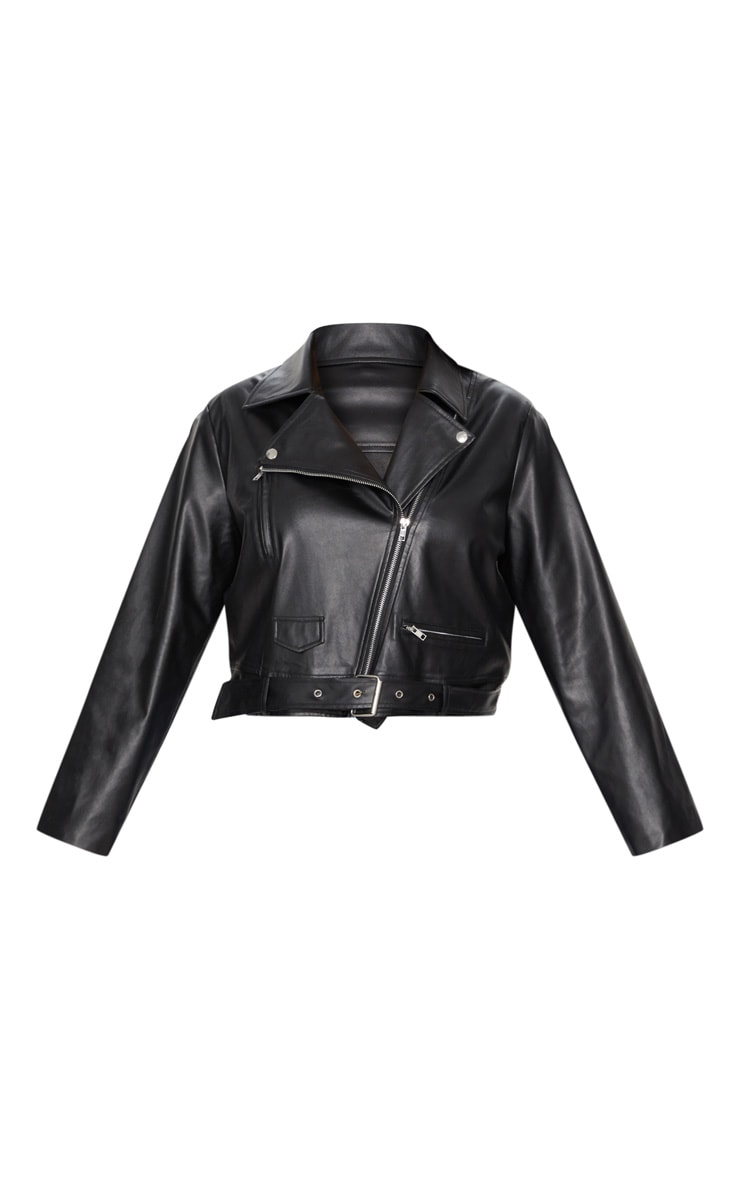 Plus Black PU Biker Jacket 3