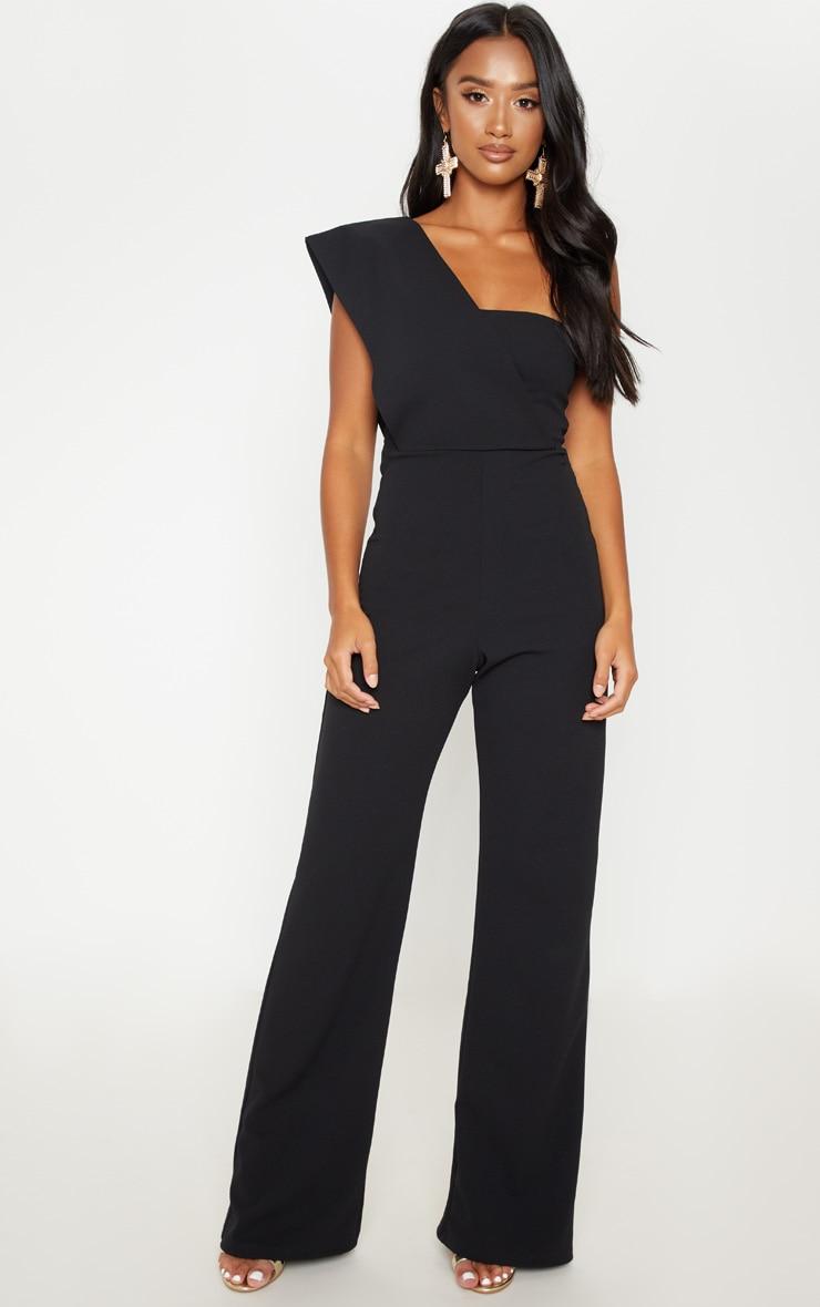 Petite Black Drape One Shoulder Jumpsuit 4