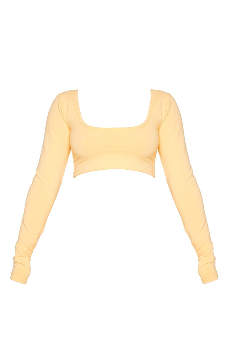 PRETTYLITTLETHING Peach Badge Cotton Long Sleeve Crop Top 5