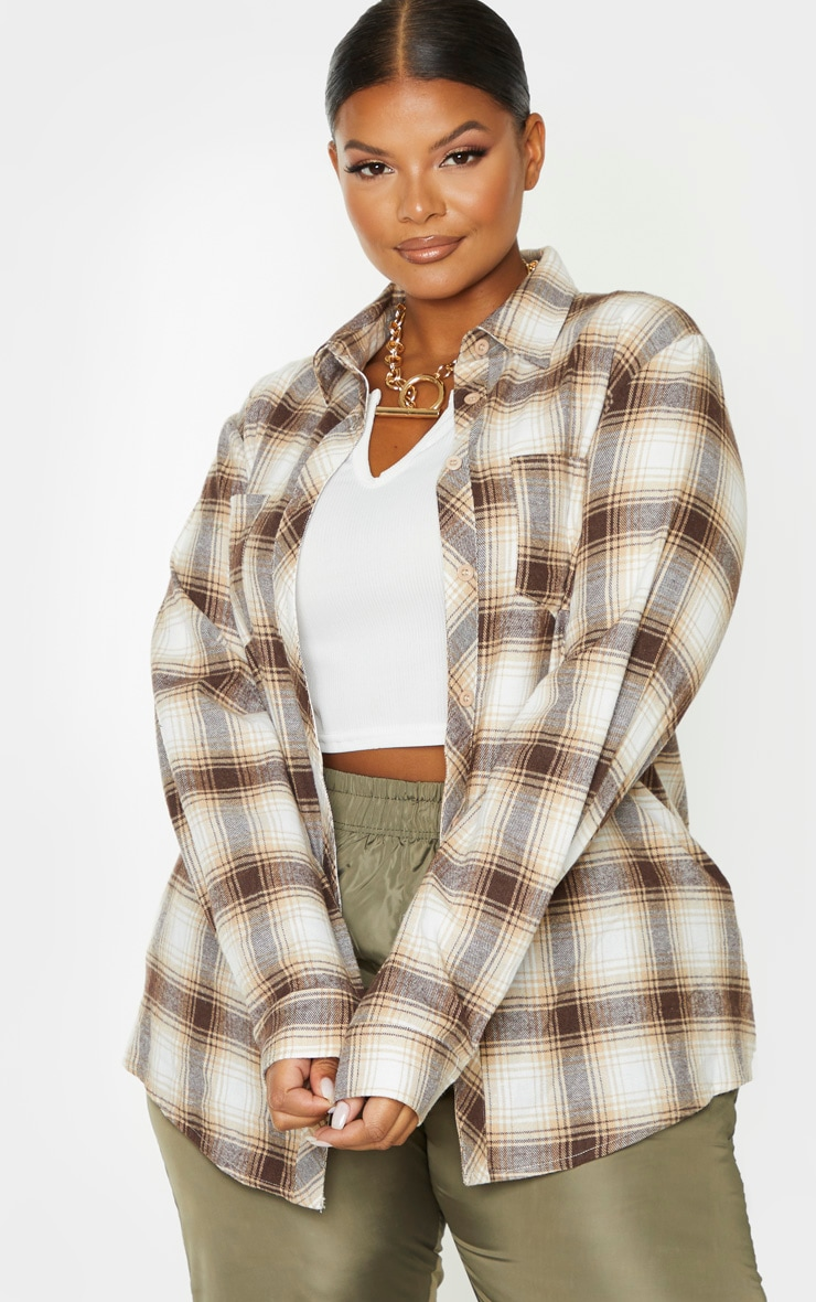 Plus Stone Tartan Oversized Shirt 1