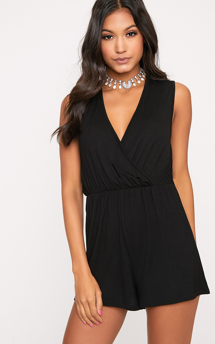 c9c72d84f72 Black Sleeveless Wrap Front Playsuit image 1