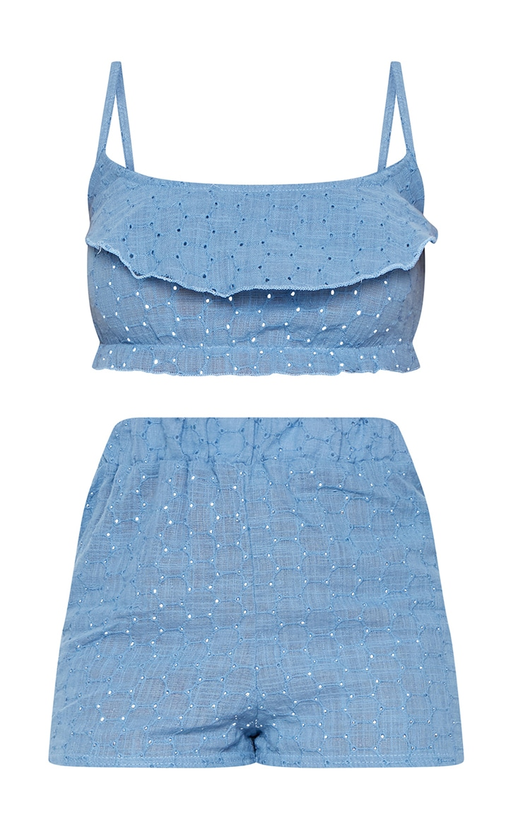 Pale Blue Broderie Anglaise Frill Detail Strappy PJ Set  3