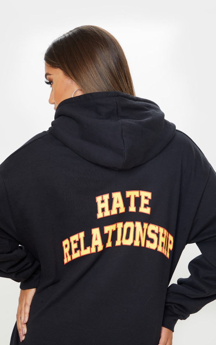 Black Love Hate Slogan Oversized Hoodie 2