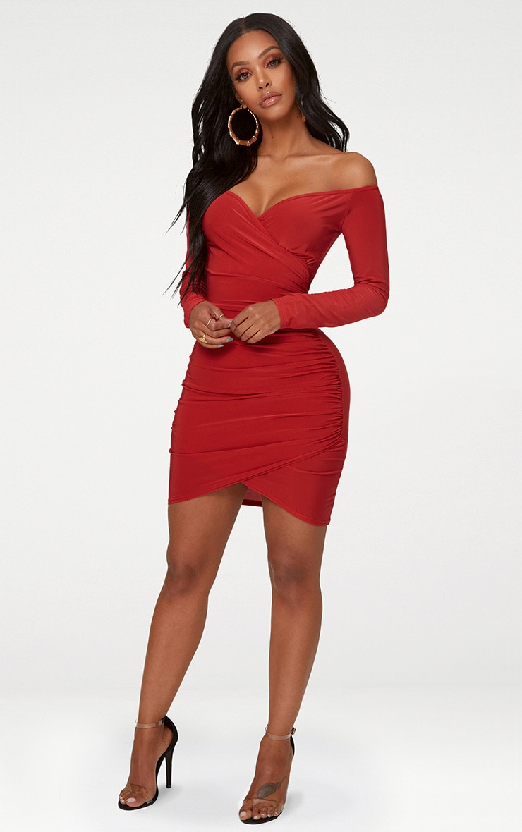Shape Red Slinky Ruched Detail Bardot Dress 3