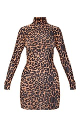 Brown Leopard Print Ribbed Long Sleeve High Neck Bodycon Dress 5