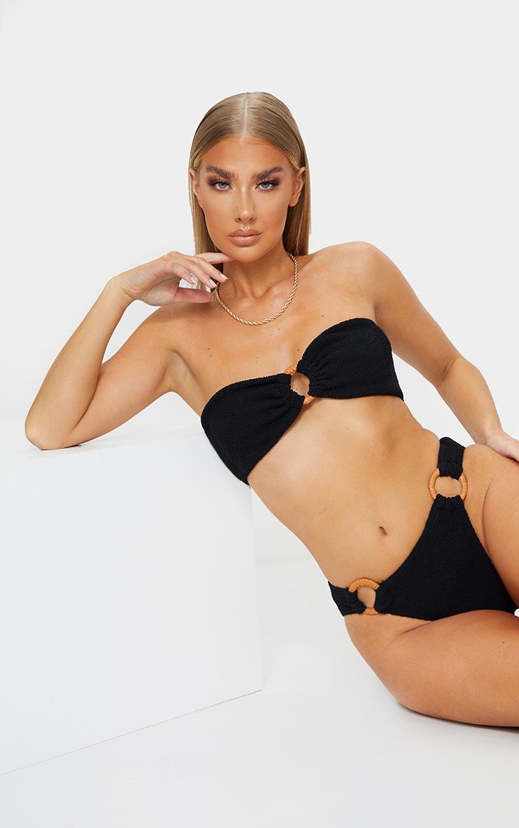 Black Ring Middle Crinkle Bikini Top 6
