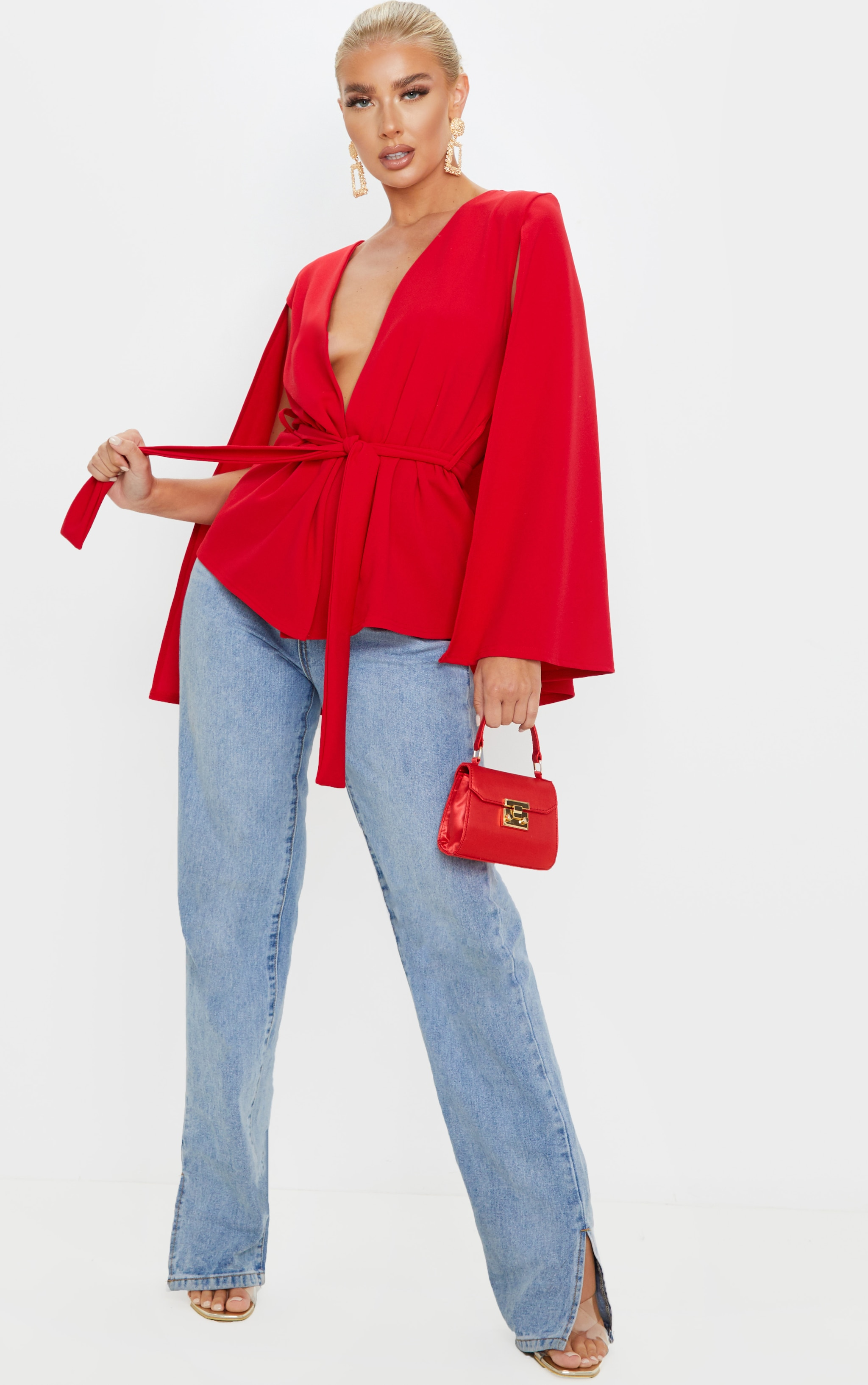 Red Crepe Belted Cape Blazer 1