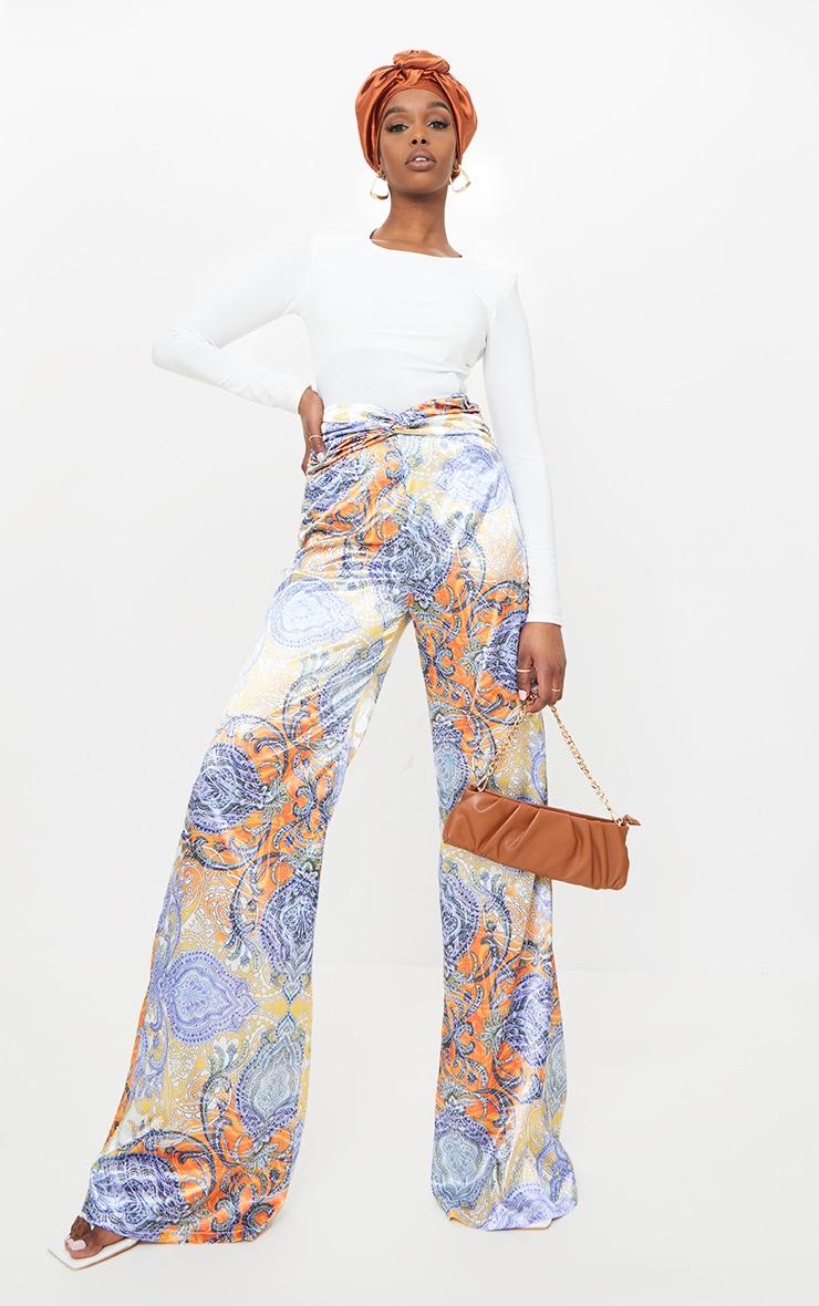 Multi Paisley Printed Satin Ruched Waist Wide Leg Pants 1
