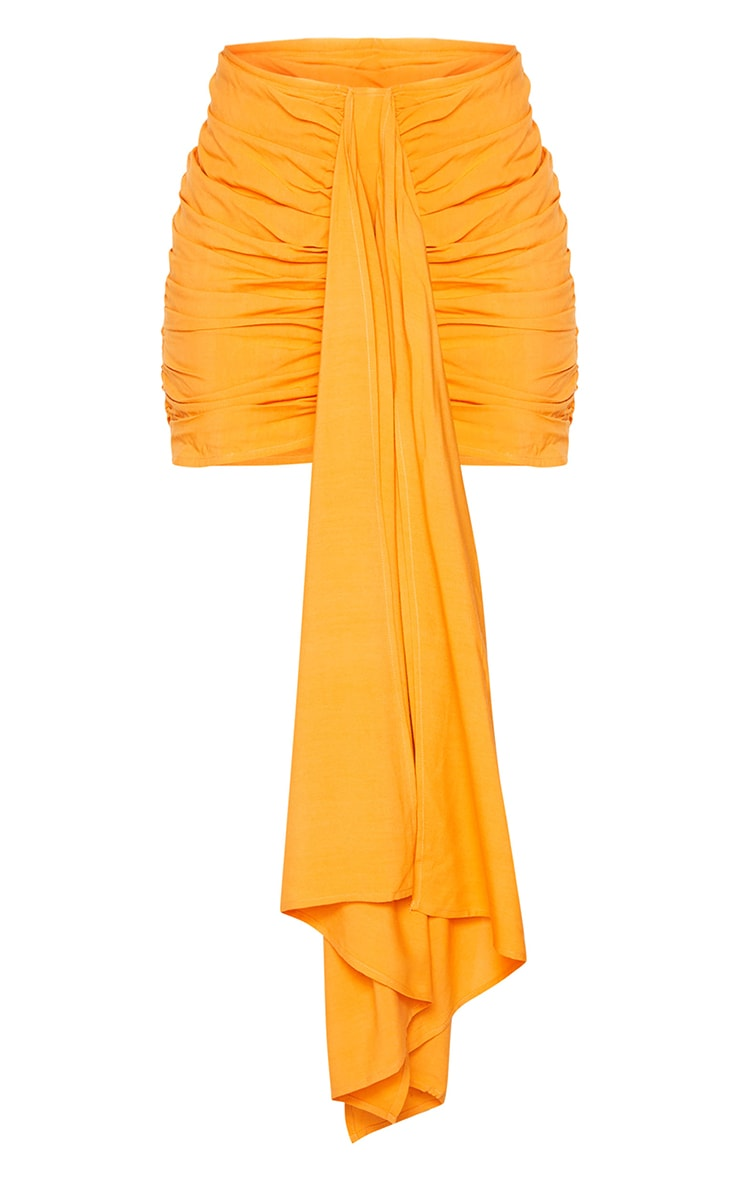 Orange Ruched Drape Front Mini Skirt 6