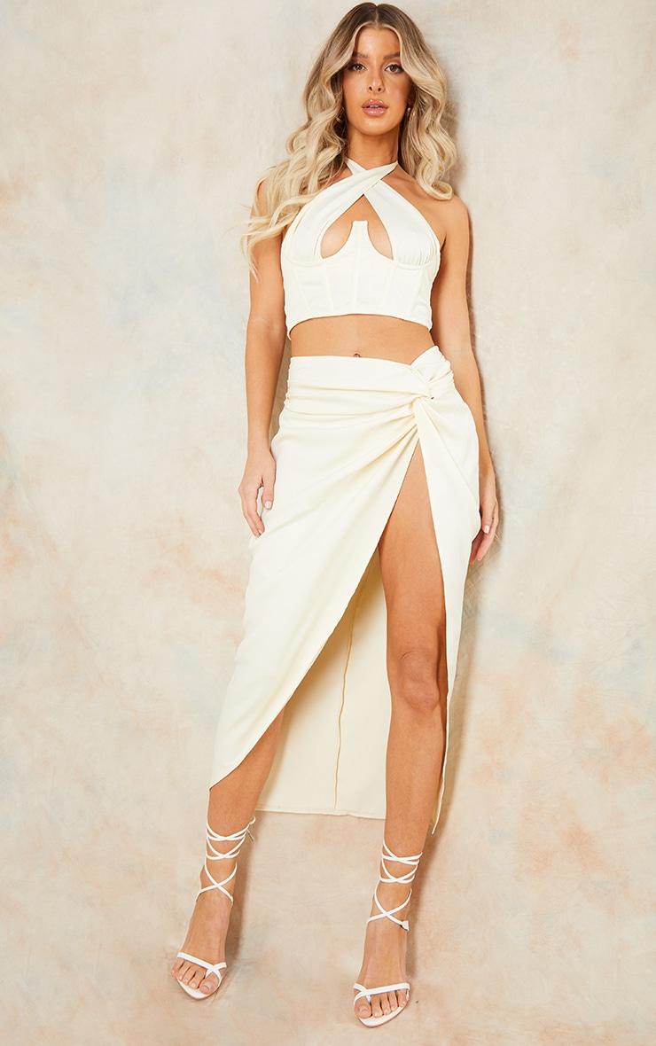 Cream Woven Knot Waist Split Leg Midaxi Skirt 1