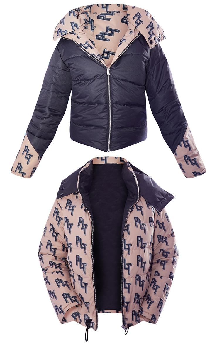 PRETTYLITTLETHING Ski Brown Print Reversible Puffer Coat 5