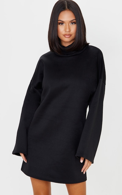 Black Fleece Roll Neck Flare Sleeve Jumper Dress