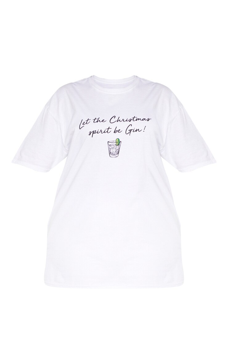 Plus White Let The Christmas Spirit Be Gin Slogan T-Shirt 3