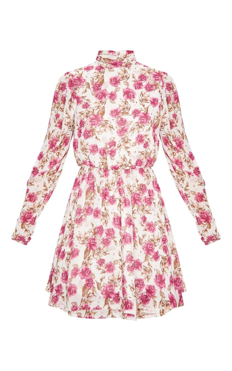 Nude Floral Print High Neck Chiffon Skater Dress 5
