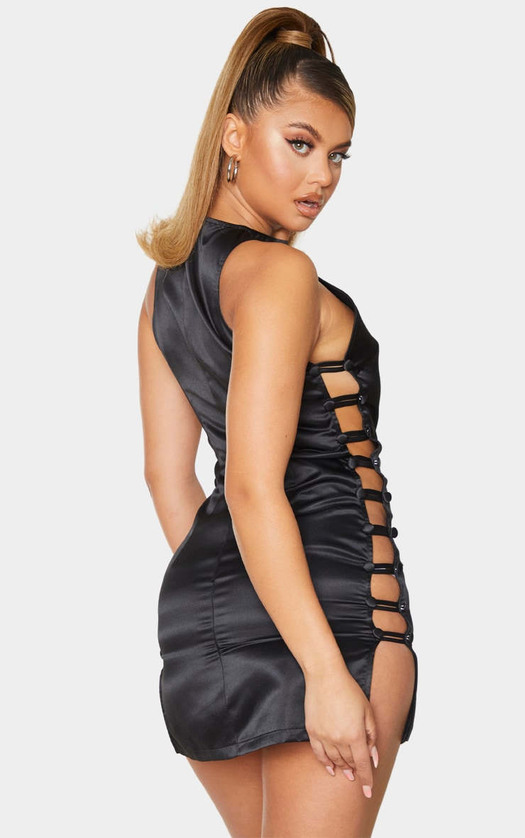 Black Satin Racer Neck Button Down Detail Bodycon Dress 2