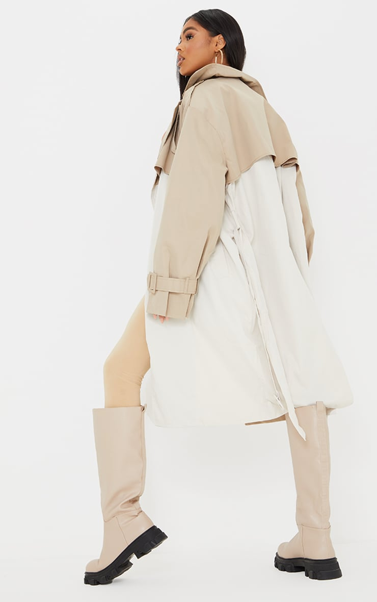 Cream Contrast Oversized Belted Midi Trench 2