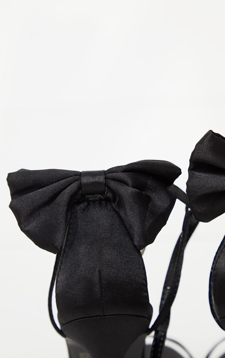 Black Satin Strappy Bow Back High Heels 4