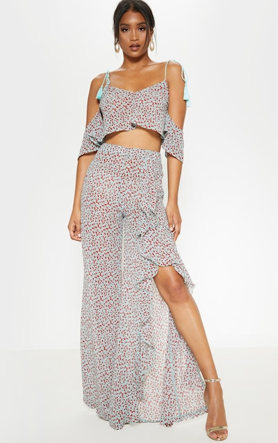 Blue Ditsy Floral Print Frill Detail Wide Leg Trousers
