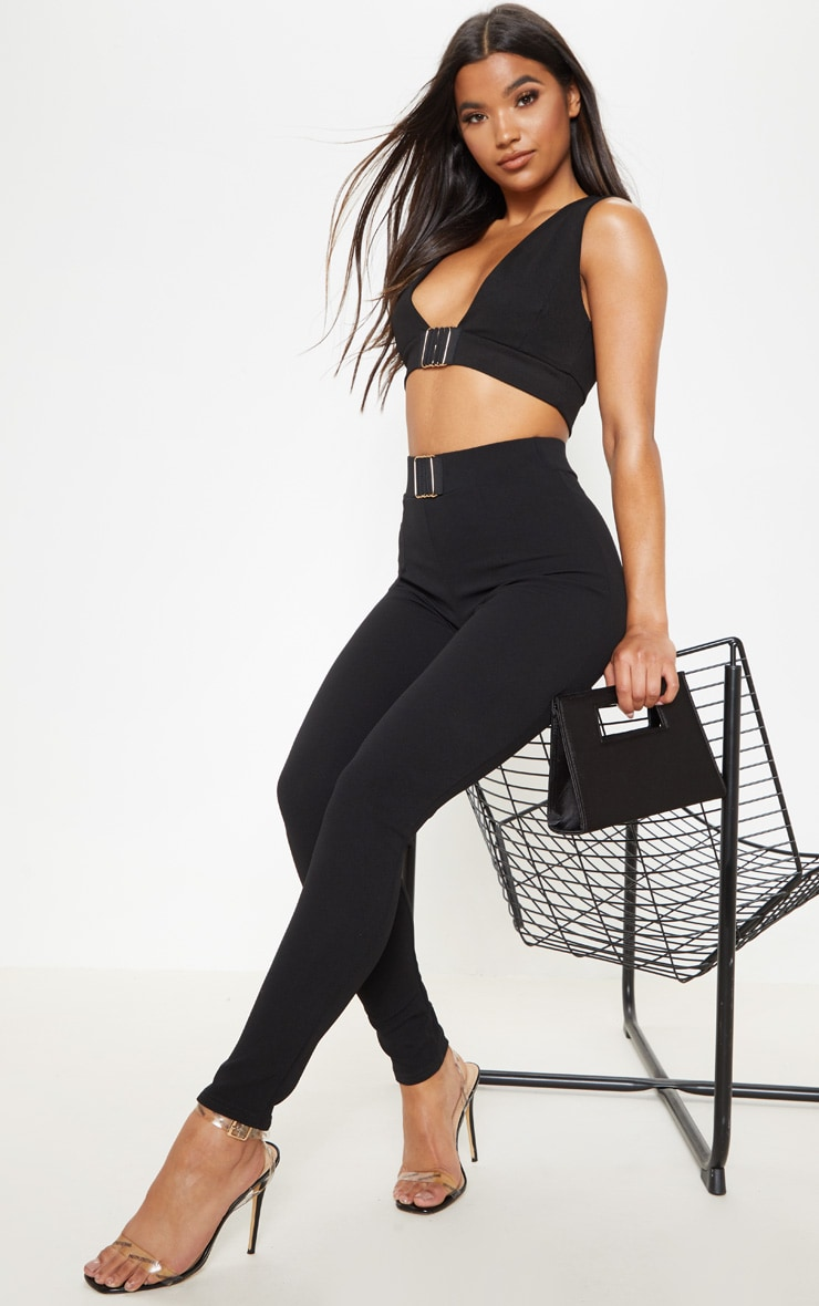 Black Cut Out Trim Detail Crop Top 4