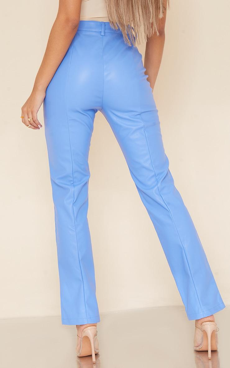 Pantalon droit en similicuir bleuet à taille en V 3