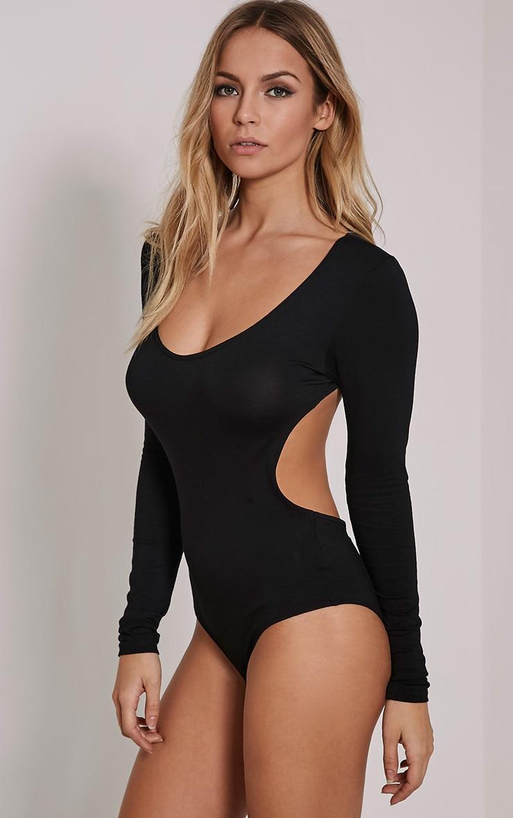 Basic Black Backless Jersey Bodysuit 6