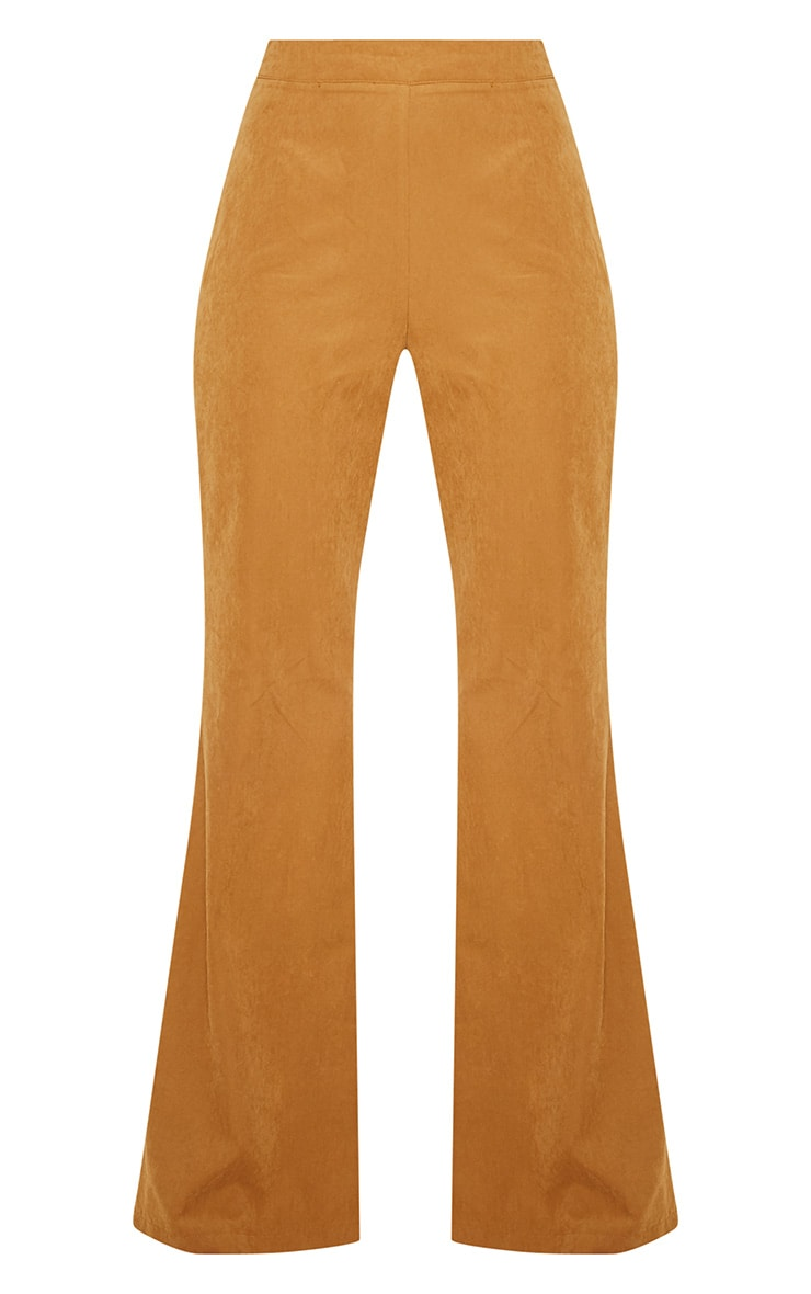 Tan Faux Suede Wide Leg Trouser 3