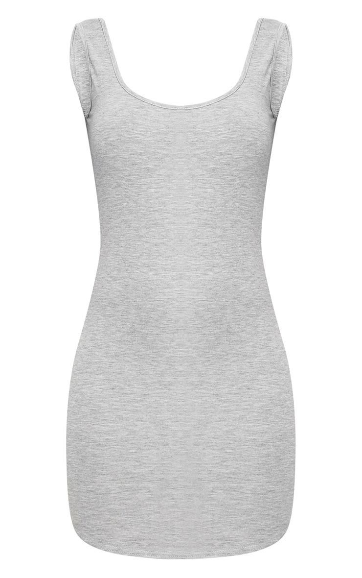 Grey Marl Curve Hem Bodycon Dress 3