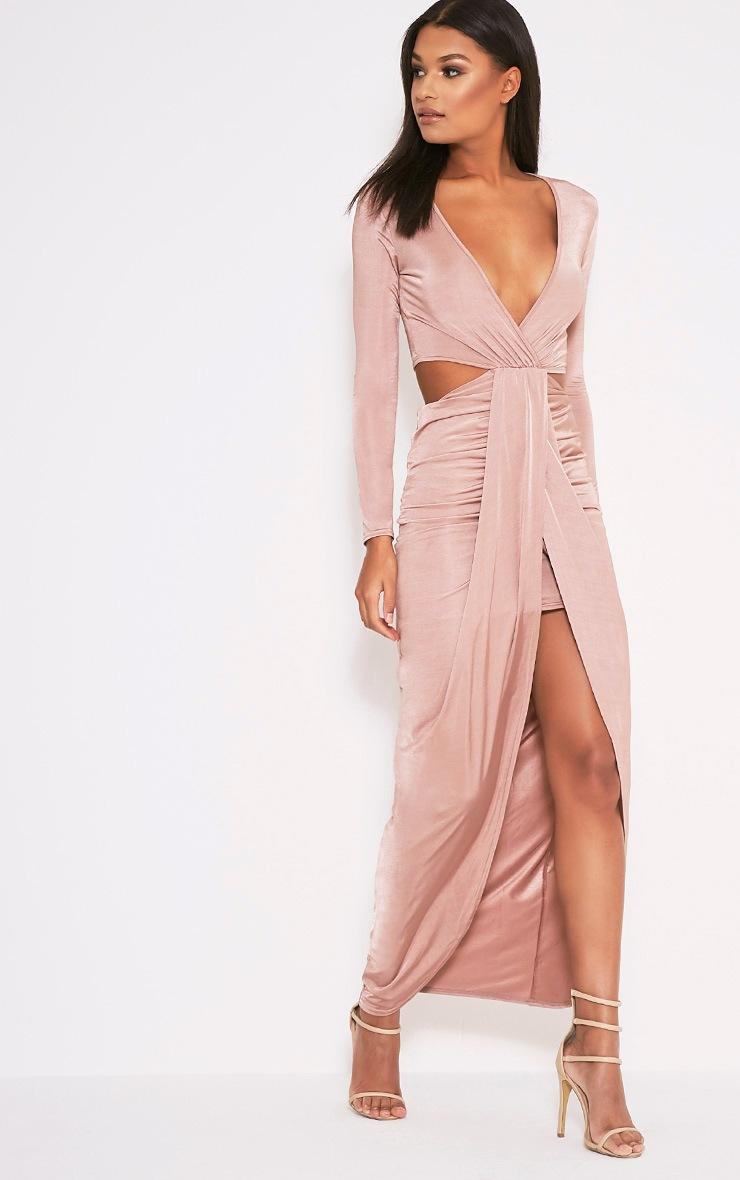 Bria Dusty Pink Wrap Front Drape Detail Maxi Dress 4